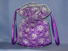 Ivory lace and cadbury purple satin dolly bag bridesmaid/eveningwear/prom