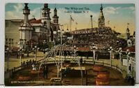 Coney Island N.Y. The Whip and Top Amusement Rides Postcard F15