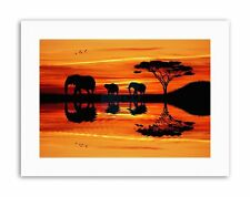 COMPOSITION AFRICAN ELEPHANT SILHOUETTE SUNSET Poster Canvas art Prints
