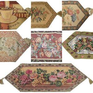 Elegant Floral Woven Tapestry Dining Table Linen Runners Throws Golden Tassels