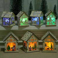 NEW Christmas Ornaments Gifts Wood House LED Light Xmas Tree Pendant Products