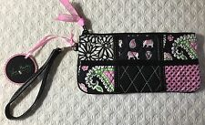 Vera Bradley Pink Elephants Wristlet Purse Ella Patchwork Fit Iphone 7+ Case New