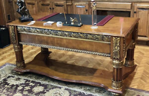 Classical Carved Cherry & Maple with Dark Gold Writing Desk