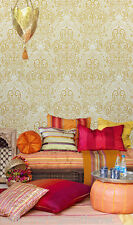 Paste the Wall,  Asian Inspired Damask Wallpaper in Mustard and Cream