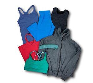 Lot of 7 Lululemon Athletica: Tank Tops (3), Capris, Bra, Jacket, & Headband 4-6