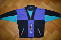 ADIDAS Original Track Suit Top Winter Fleece Jacket colorful Retro Vtg RARE L XL