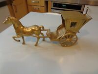 VINTAGE  LARGE BRASS HACKNEY CARRAGE WITH CART HORSE HEAVY