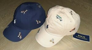 Polo Ralph Lauren Beige & Cars OR Navy & Dogs Embroidered Baseball Ball Cap Hat