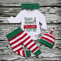 Newborn Infant Baby Girls Boys Christmas Letter Bodysuit Stripe Pant Outfits Set