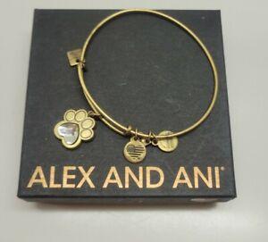 ALEX AND ANI Crystal Paw Prints of Love Charm Bangle