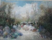 "WILLI BAUER(1923) POST IMPRESSIONIST LARGE OIL CANVAS ""GARDEN SCENE"" ARTIST BEST"