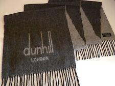 Dunhill mens cashmere & merino scarf dark & light grey NEW winter wool luxury