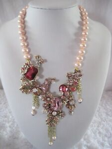 "HEIDI DAUS ""Bunny Garden"" Simulated Pink Pearl Necklace-RARE!!"