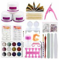 Acrylic Nail Art Tools Kit Set Powders Nail Tips Brush Set Practice Tool