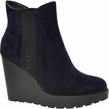CALVIN KLEIN JEANS Women's Navy Wedge Suede Leather Ankle Boots:UK5, 6, rrp:£140
