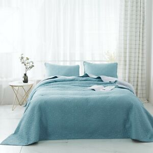 KASENTEX 3-pc Oversized Bedding Set - 100% Cotton Reversible Bedspread, Winter