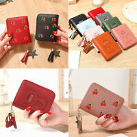 Women's Short Small Wallet Lady Leather zipper Coin Card Holder Money Purse