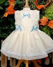 DREAM 0-7 YEARS BABY GIRLS CREAM BLUE TRIM SPANISH DROP WAIST LINED DRESS