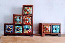 Handmade Wooden Indian Storage Boxes - Ceramic Drawers