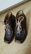 Kickers Rare Wedged Brown Leather Ankle Lace Moccasins Boots Size 38 5