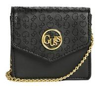 NWT GUESS BLAIRE Mini CARD CASE CROSSBODY HANDBAG Black Logo Wallet Bag GENUINE