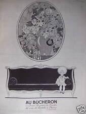 PUBLICITÉ 1924 AU BÛCHERON LE GRAND MAGASIN DU MEUBLE - ADVERTISING