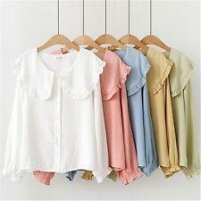 Women Lolita Shirt Blouse Peter Pan Collar Long Sleeve Ruffle Preppy Cute