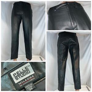 Wilsons Leather Pelle Studio Men's Pants 34x28 Blk Leather Lined Flat YGI B1-387