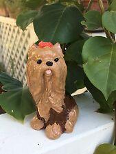 Handcrafted cement brown dog/yorkie garden figure/statue Yard art indoor/outdoor