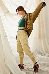FREE PEOPLE MOVEMENT ON THE ROAD PALE GREEN NYLON PANTS (SIZE XS) RRP £118