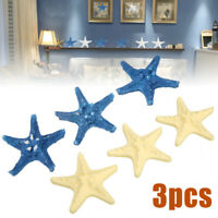 3Pcs Xmas Resin Starfish Tropical Ornament Beach Ocean Sea Star Home Wall Decor!
