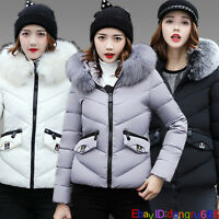 Winter Womens Warm Down Coat Parka Puffer Faux Fur Collar Hooded Quilted Jacket