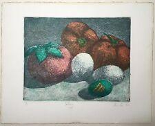 1982 Original PAM LI Signed PRINT Cadbury Creme Egg STILL LIFE Fruit Pin Cushion