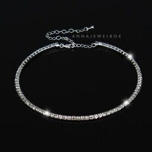 Diamante Silver Choker Necklace CZ Cubic Zirconia Crystal Women Gift For Her UK