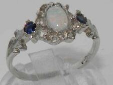 SOLID HALLMARKED STERLING 925 SILVER NATURAL FIERY OPAL & SAPPHIRE 3 STONE RING
