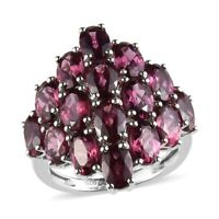 Platinum Over 925 Sterling Silver Rose Garnet Cluster Ring Gift Jewelry Ct 9.1