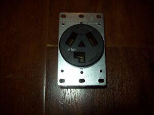 Lot of 4 Leviton 30A Flush Mount Power Outlet Black 10-30R