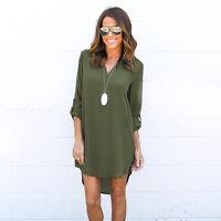 New Women Blouse Chiffon Long Sleeve V Neck T Shirt Casual Loose Short Dress Top