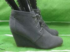 """new ladies Gray 3.5"""" Wedge Heel Round Toe  LACE UP Sexy Ankle Boots Size  8"""