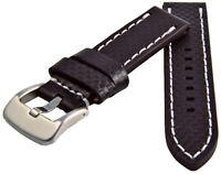 Reloj Pulsera de Cuero Carbono Óptica Negro con Costura Blanca 20-24mm Correa