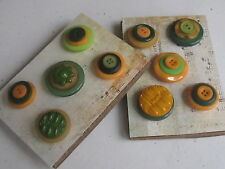 Handmade Vintage Button Office Bulletin Board Push Pin Set Yellow/Orange & Green