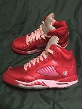 Nike Air Jordan Retro 5 Valentines Day Red Pink Youth Shoes Size 4Y