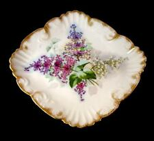 Limoges Hand Painted Victorian Lilacs Cake Plate Plaque Art China Decorating Co.