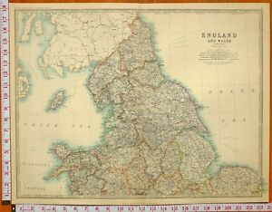 1899 LARGE ANTIQUE MAP NORTH ENGLAND & WALES YORK CUMBERLAND CHESTER NORFOLK