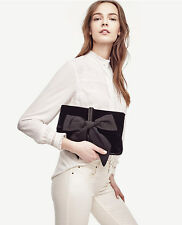 Ann Taylor - Woman's Black Special Occasion Velvet Bow Clutch $128.00
