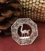 Vintage Peru 925 Sterling Silver Filigree Lama Brooch Pin Fine Jewelry