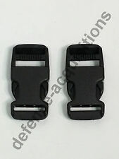 SET OF 2 Side Release Side Squeeze Single Adjust Buckle BLACK 1 INCH