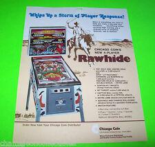 RAWHIDE By CHICAGO COIN RARE 1977 ORIGINAL PINBALL MACHINE PROMO SALES FLYER
