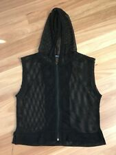 Ladies Cute Black Net Sleeveless Hoodie By Valley Girl Size M - Aus 10/12