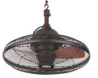 Ceiling Fan Outdoor Indoor Bronze Pavilion Patio Lodge Cabin Porch (3 Blade) NEW